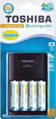 Toshiba Charger + 4 AA rechargeable batteries 1950 mAh - Skroutz.gr