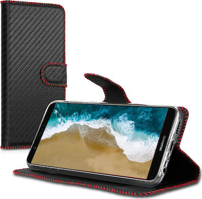 KW Wallet Carbon Black/Red (Huawei P Smart)
