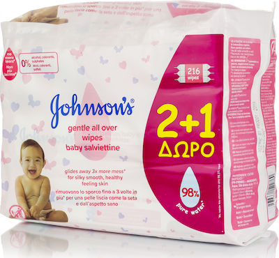 Johnson & Johnson Gentle All Over 2x72τμχ & Δώρο 1x72τμχ