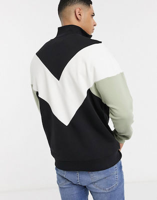 Fred Perry chevron half zip sweat in black-Multi