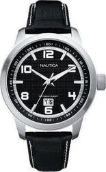 Nautica NCT 400 Date Black Dial & Black Leather Strap - A13551G