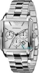 Emporio Armani Mens White With Silver Stainless Steel Bracelet AR0483