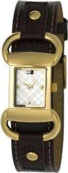 Tommy Hilfiger Ladies Gold Squared Brown Strap 1780622