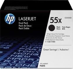 HP 55X Black High Yield 2-pack Toner (CE255XD)