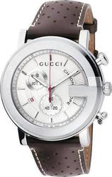 Gucci Chrono Silver Dial Brown Leather Strap - YA101312