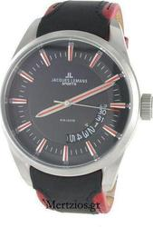 Jacques Lemans Liverpool Black Red Dial & Leather Strap - 1-1637A