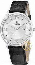 Festina Black Leather Strap White Dial F68061