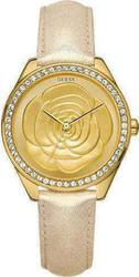 Guess Ladies Watch Mini Crystal Rose Champagne Leather Strap W85076L1