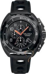 Nautica NST 300 Chronograph Black Leather Strap A24521G