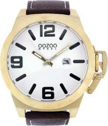 Oozoo Steel XXL Brown Leather Strap OS03