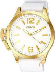Oozoo Steel XL Gold White Rubber Strap OS270