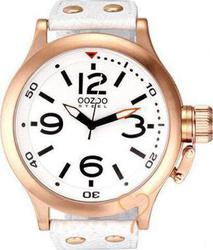 Oozoo STEEL XL White Leather Strap OS208