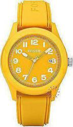Fossil Unisex Sport Yellow Rubber Strap JR1299
