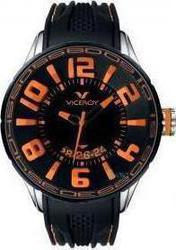 Viceroy Black Orange Dial Black Rubber Strap - 432111-45