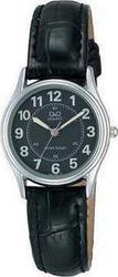 Q&Q Classic Ladies All Black Leather Strap - VG69-305
