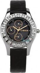 Morgan Black Leather Strap Crystal Ladies 1082RG