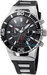 Elgin Chronograph Black Rubber and Stainless Steel Strap - 200115602.2