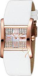 Cerruti Lady Crystal Rosegold White Leather Strap CT100922S03