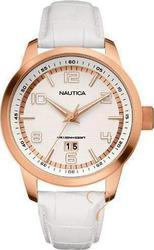 Nautica Woman RoseGold Case & Off White Leather Strap - A15025G