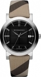 Burberry Lady Black Dial Coffe Chec Leather Strap BU1772