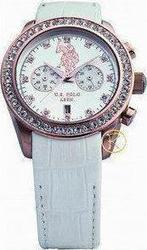 U.S. Polo Assn. Crystal Rose Gold White Leather Chrono USP4022WH