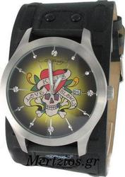 Ed Hardy Gladiator Love Kills Black Leather Strap GL-LK