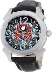 Ed Hardy Revolution Flaming Skull Black Leather Strap RE-FS