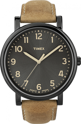 Timex Brown Leather Strap Black Dial T2N677