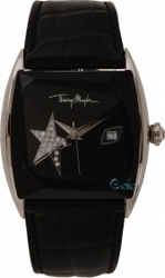 Mugler Ladies Crystal Black Leather Strap TM4709602
