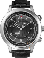 Timex World Time Black Leather Strap T2N609