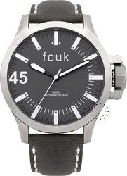 FCUK Grey Dial Grey Leather Strap FC1140B