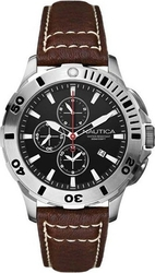 Nautica BFD Dive Chrono Black Dial Brown Leather Strap A18643G