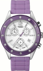 Timex Chrono Silver Case Purple Rubber Strap T2N832