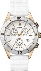 Timex Chrono Gold Case White Rubber Strap T2N827