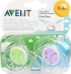 Philips Avent Contemporary Freeflow Pacifier SCF180/23 Πράσινη & Μωβ 0-6m 2τμχ