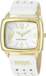 Nine West Women's Square Gold-Tone White Strap NW1080WTWT