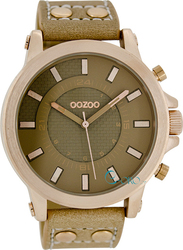 Oozoo Timepieces Rose Gold Brown Leather Strap C5217