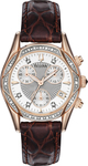 Bulova Anabar Rose Gold Brown Leather Strap Diamond Ladies 98R136