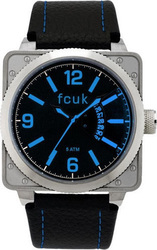 FCUK Silver Square Case Black Leather Strap - FC1066SBB