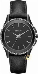 DKNY Women's Black Brooklyn Leather Strap Watch NY8704
