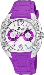 Lotus Cool Lady Crystals Purple Rubber Strap