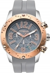 Vogue Spirit Rose Gold Chrono Grey Rubber Strap