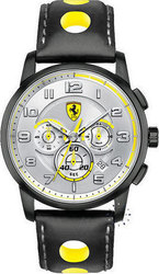 Ferrari Heritage Chronograph Black Leather Strap 0830056