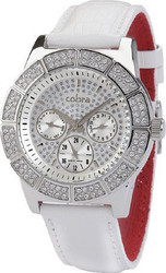 Cobra Crystal Ladies White Leather Strap CO128SS4L1