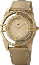 Cobra Crystal Gold Ladies Beige Leather Strap CO204SG3L3