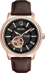 Bulova Automatic Open Back Brown Leather Strap 97A109