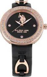 U.S. Polo Assn. U.s. Crystals Rose Gold Black Leather Strap USP5132BK