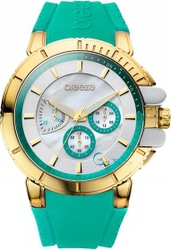 Breeze 3d Shadow Gold Green Rubber Strap Chronograph 110061.10