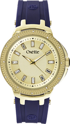 Oxette Crystals Gold Blue Rubber Strap 11X75-00116