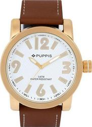 Puppis Gold Case White Dial Brown Leather Strap PUM4101